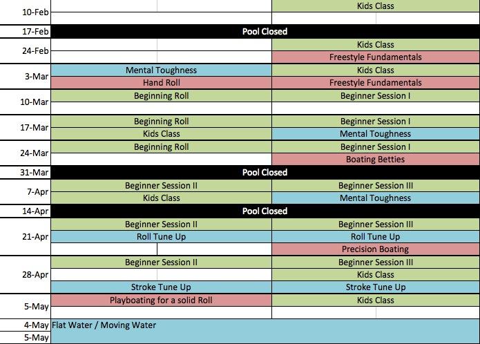 2013 Pool Schedule